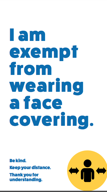 infographic reads: I am exempt from wearing a face covering